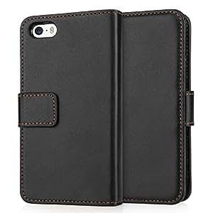Schutzhülle iPhone 5S / 5 Tasche Schwarz PU Leder Brieftasche
