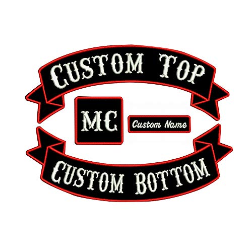 Custom Embroidery rocker Name Patch, Personalized Military Number Tag  Customized Logo ID For Multiple Clothing Bags Vest Jackets Work Shirts red  on