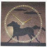 Vaerst 1172 Wanduhr Schiefer Airbrushdesign schwarzes Pferd Sonnenuntergang 30 cm x 30 cm