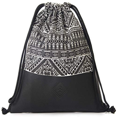 MONi Turnbeutel Gymbag im Ethnic Design, Schwarz/Weiß