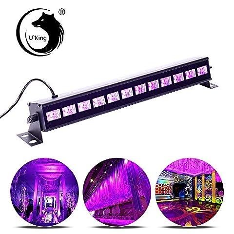 U`King 36W UV Scène Éclairage Lumière Noire UV 12Leds x 3 W LED Bar éclairage avec télécommande pour Party Bar Carnaval Halloween et Noël