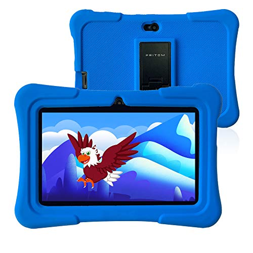Pritom 7 Zoll Kids Tablet, Quad Core Android, 1 GB RAM + 16 GB ROM, WiFi, Bluetooth, Dual Camera, Schulung, Spiele, Kindersicherung, Kindersoftware mit vorinstallierter Kids-Tablet-Hülle (dunkelblau)