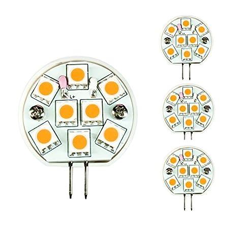 LIGHTEU, 4 x Ampoules LED Super Lumineuse avec 8 SMDs 5050, Prise G4, 2W, AC / DC 10 ~ 30V, Couleur de la Lumière: Blanc Chaud [Classe énergétique A]