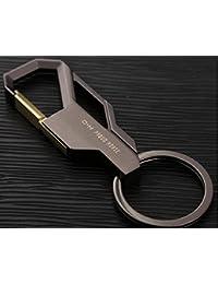 Ecloud Shop Llavero de negocios de los hombres de acero inoxidable de primera calidad creativa de la llave del coche del anillo Pistola de oro rosa
