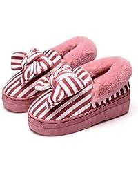 DANDANJIE Home Scarpe Donna a Strisce Bow Interno Pantofole Inverno Tacco  Alto Caldo Pantofole Carino per ab09fc20e4e