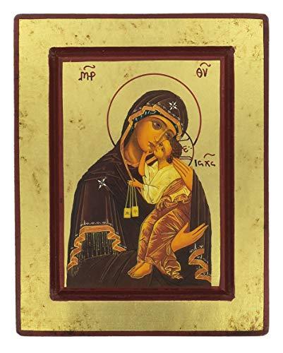 Ferrari & Arrighetti Icono Virgen del Carmen de Madera (Icono Griego) - 19 x 15 cm