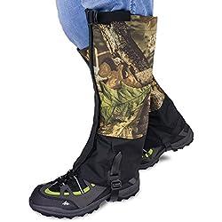 Qshare polainas para piernas para botas - escalada a prueba de agua escalada caza nieve polainas de pierna alta (hombres y mujeres)