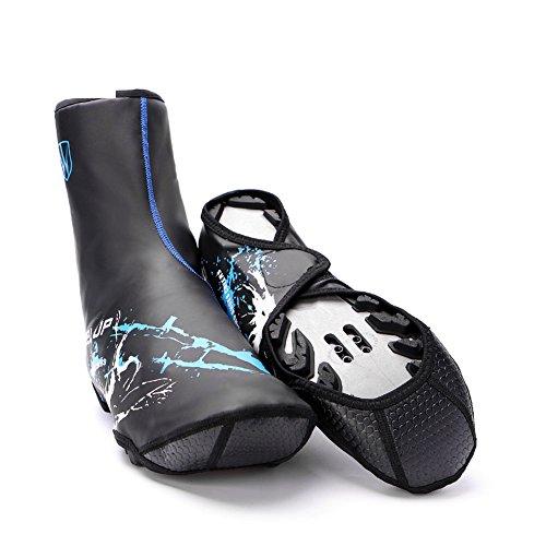 Copriscarpe impermeabili da ciclismo, 1 paio riutilizzabile pioggia scarpe cover antiscivolo con cerniera per arrampicata ciclismo(blue)