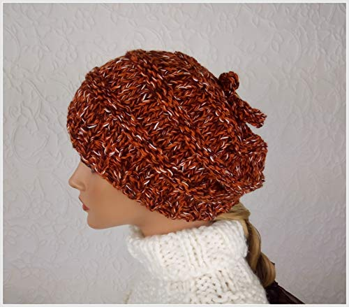 Wollmütze für Frauen. Handgefertigt. Strickmütze für den Winter. Geschenkideen für sie. Originell und lustig Slouchy. Hut für Mädchen.