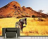 Vlies Fototapete - Zebra vor Einem Gebirge - 265x200 cm - Inklusive Kleister - Tapetenkleister – Bild auf Tapete – Bildtapete – Foto auf Tapeten – Wand – Wandtapete – Vliestapete – Wanddeko - Design
