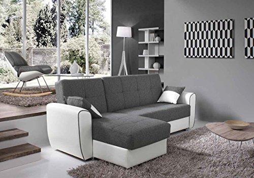 Mocada vera divano con penisola contenitore trasformabile letto - marrone/beige
