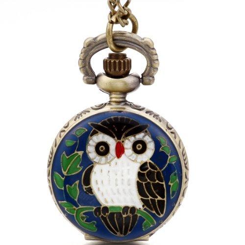 JewelryWe Taschenuhr mit blauem Nachteulen-Aufdruck, 78,7cm Halskette, inklusive Geschenbeutel