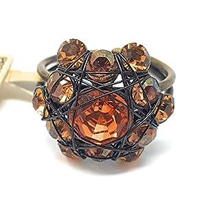 KONPLOTT Bended Lights Damen-Ring, Ringgröße verstellbar, Glas orange-gelb -5450527760003