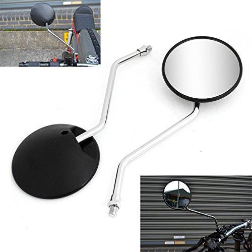 WASTUO 10mm Clockwise Universel Moto R/étroviseur Scooter Mobylette ATV Mirrors Noir Convient pour GY6 Touring Bikes Sport Bike Caf/é Racers Scooters /électriques Side R/étroviseurs