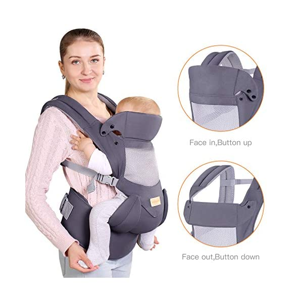 Infant Toddler Baby Carrier Wrap Backpack Front and Back, Hip Seat & Hood, Soft & Breathable Cotton, Cool Air Mesh, Grey tiancaiyiding ❤ Ergonomic Design: Wide and thick backpack straps help relieve stress . Easy to put on or take off. ❤ M shape Position: Stop hurting your baby's legs. Keep blood circulation in normality. ❤ All-round Support: Simple and thus strong structure. 360° wraps the baby against falling out. Collapsible hood for wind and sun protection 6
