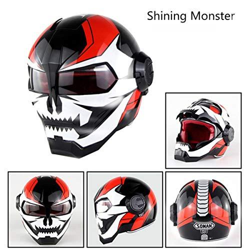 Casco da Motocross Super personalità - Casco Integrale da Uomo di Ferro - Retro Stile Harley Trasformatori Viso -DOT/Casco Esterno da Strada per Uomo e Donna Shining Monster-XL