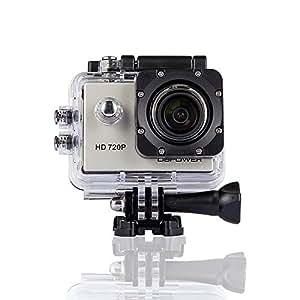 DBPOWER® 720P 12MP azione impermeabile fotocamera con 2 batterie e accessori varia (Argento)