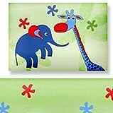 Aminata Kids – bunte Bettwäsche 100x135 cm Kinder Jungen Mädchen Tiere Baumwolle Reißverschluss Grün Blau Zootiere Elefant Giraffe Schildkröte Kinderbettwäsche Babybettwäsche Bettbezug Kinderbettgröße -