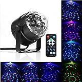 Gledto 3W LED Lampe de scène RGB DJ Disco Jeux de Lumière Commande Sonore + Télécommande Sphère Rotative Projecteur Éclairage Effet Scénique avec Alimentation EU