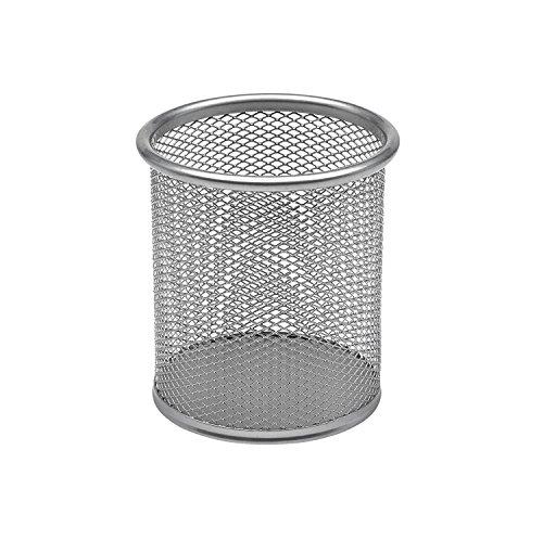 Takestop® portapenne tondo argento sun_8380 da scrivania metallo rete 8.5x10 cm porta penne bicchiere contenitore ufficio cancelleria scrivania