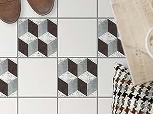 creatisto carrelage sol sticker autocollant | Aménager escalier - Art de tuiles sol | Motif 3D Marbre Cubes | 20x20 cm - 4 pièces (2x2)