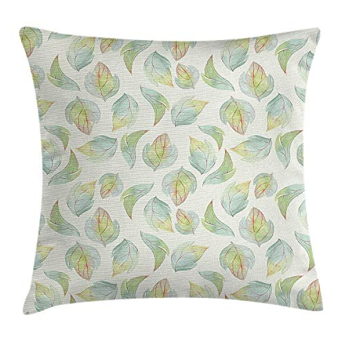 Nature Throw Pillow Cushion Cover by, Abstract Fall Autumn Time Inspired Flower Leaves Veins Artwork Image, Decorative Square Accent Pillow Case, 18 X 18 Inches, Seafoam Pale Green Cream