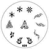 Stamping Schablone A39 - Weihnachten Christmas XMAS mit Eiskristallen, Glocken usw.