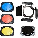 PhotoSEL BNS84BHC Kit Volet Coupe Flux avec Grilles Nid d'Abeille, 3 Filtres Couleurs Gélatines pour Réflecteur Standard FRS558