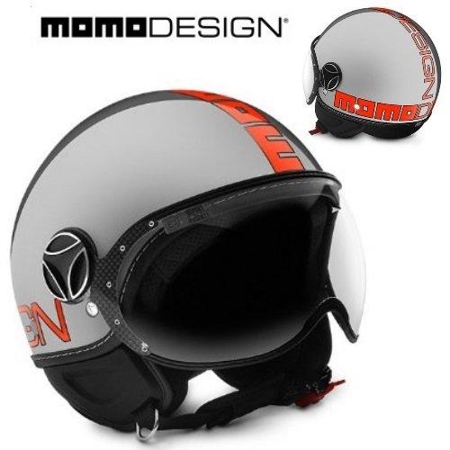 Helm Jet Dusche Visier Momodesign Fighter Evo Metal Schriftzug Neon Orange Größe M (Helm Jet Fighter)