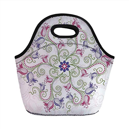 Portable Bento Lunch Bag,Mandala,Round Flower Frame Design Classical Vintage Floral Art with Ottoman Tulips Decorative,Purple Green White,for Kids Adult Thermal Insulated Tote Bags