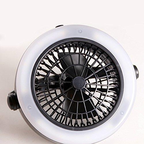 elegantstunning Tragbare batteriebetriebene LED Fan Licht Mini Luftkühler Outdoor Camping Zelt Lampe mit hängenden Haken