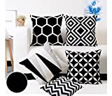 #4: Modern Homes Black and White 100% Cotton Designer Decorative Throw Pillow/Cushion Covers (Set of 5 with zip) - 16 x 16 inch/40 x 40 cm