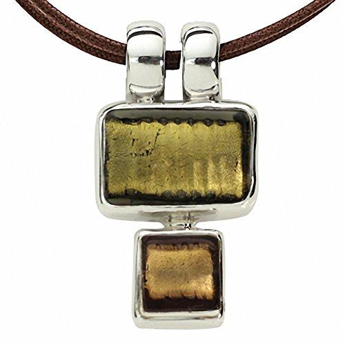Gabriella Nanni, collier en coton ciré avec pendentif en argent 925et verre de Murano-minicollana olive