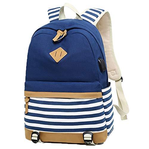 (Yslin Schultasche für Mädchen Schulranzen Groß Mode Tagesrucksack Wasserdicht Rucksack Schule Backpack Canvas Hohe Qualität Schoolbag USB 2 Set (Blau))