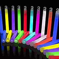 The Glowhouse Premium Brightest 6 inch Glow Stick Mega Pack of 25 (Mixed) - Individually Wrapped with Lanyards - UK Brand