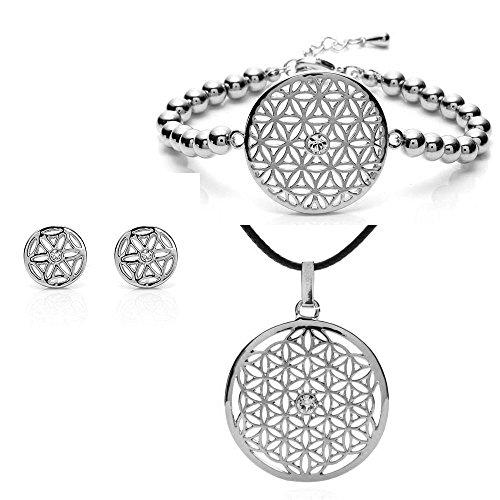 Silvity Damen Blume des Lebens Set 3 Teilig mit Crystals from Swarovski® Kristalle 959001-P-20 (silber)
