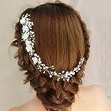 Diadema para novia Veewon tocado para boda con perlas, accesorio para el cabello, con flores