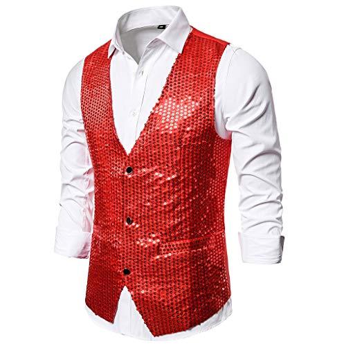 70's Kostüm Muster - TWISFER Herren Weste Anzugweste Shiny Pailletten Einreiher Slim Fit Anzug Blazer Performance Kostüme für Nachtklub, Hochzeit, Party S-XXL