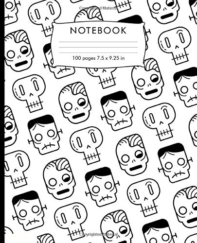 Notebook: Zombies and skulls pattern Composition Notebook. 100 pages College Ruled Book 7.5 x 9.25 in journal for elementary students, teachers, girls, boys, kids, college students.