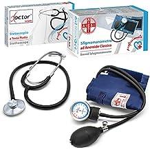 AIESI Esfigmomanometro Tensiómetro Manual Profesional Aneroide clasico con brazalete de nylon adultos y estetoscopio DOCTOR PRECISION