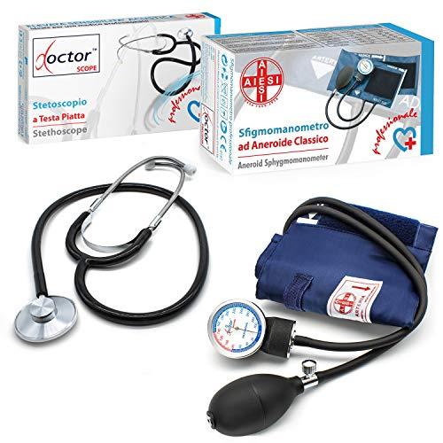 AIESI Professionelles Blutdruckmessgerät Manuelles Aneroid oberarm klassisches modell für erwachsene mit stethoskope DOCTOR PRECISION ✔ Blutdruckmessers mit phonendoscope ✔ 24 Monate Garantie