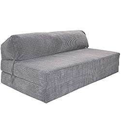 Gilda | Futon Z Double Adult Sofa Bed (Jazz Cushion) - Deluxe Da Vinci Cord Fabric Fold Out Mattress Fabric Bounce Back Fibre Blocks Premium Block Work Range (Soft & Snugly)(Charcoal)