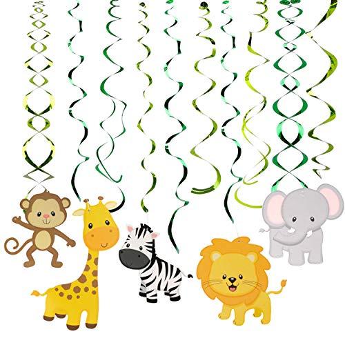FT-SHOP Tier Party Deko Hängedekoration Dschungel Tiere Themen Deckenhänger Folie Spiral Girlanden für Kinder Baby Dusche Geburtstag Party Dekoration 30 Stück