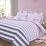 Dreamscene Fade à Rayures Housse de Couette, Polycoton Polyester 50% Coton, Rose, Single