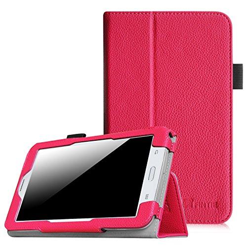 [Eckenschutz] Fintie Samsung Galaxy Tab 3 7.0 Lite T110 T111 T113 T116 Hülle Case - Slim Fit Folio Bookstyle Kunstleder Schutzhülle Cover Tasche mit Ständerfunktion für Tab 3 Lite 7.0 Zoll Tablet, Magenta