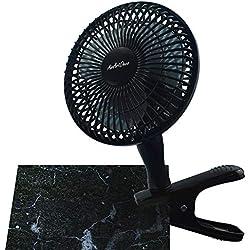 AAirArtDeco Mini Ventilateur à Clip 15 cm de Diamètre | 2 Vitesses | Fonctionnement Silencieux | Ventilateur de Refroidissement Portatif I Ventilateur Portable Pour la Maison ou le Bureau | Noir