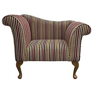 Designer Chaise Chair in a Riga Multi-coloured stripe Fabric