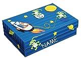 Unbekannt Bastelset Schulbox / Kreativbox - incl. NAME - Space Weltraum Rakete Junge - Schule Basteln Malbox für Kinder / Zeichenbox Schachtel / Spielzeugkiste / Box