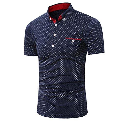 Poloshirt Kanpola T-Shirt Herren Slim Fit Polka-Punkt Shirt Sweatshirt Unterhemden Muskelshirt Tee Top Blouse - Herren Punkt-kragen-hemd