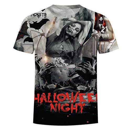 Halloween T Shirt KOZIEE Halloween Men Pumpkin 3D Print O-Neck Short Sleeve T Shirt Tops Blouses Unisex Hoodies HD 3D Print Pullover Lightweight Unisex Short Sleeve t-Shirt Gray